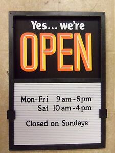 New Open Closed Sliding Sign 420 Changeable Letters Message Menu Hours Board Nib