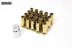 20pc Aodhan Xt51 12x1 25 Lug Nut Gold W Key Open Extended 51mm