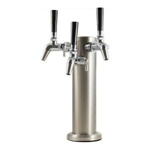Triple Stainless Steel Draft Tower With Intertap Flow Control 3 Faucets Keg King
