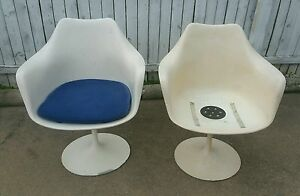 Pair 2 Mid Century Modern Eero Saarinen Knoll Tulip Arm Chairs White Very Solid