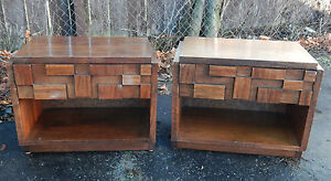 Pair Of Mid Century Modern Brutalist Nightstands End Tables By Lane Cubist