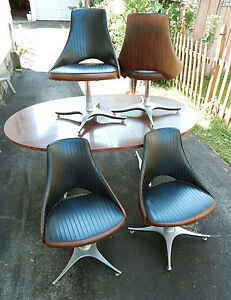 Mcm Roper For Sears 5pc Dinette Set Faux Wood Grain Space Age Star Trek Atomic