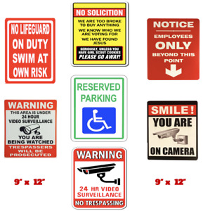 Warning Caution And Notice No Soliciting Reserved Parking Smile Camera Pvc Signs