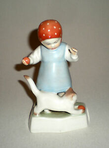 Zsolnay Porcelain Girl Playing Cat Figure