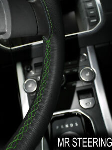 Black Leather Steering Wheel Cover For Vw Golf Mk4 1997 2003 Green Double Stitch