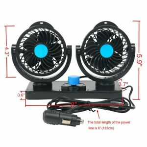 12v Auto Car Electric Air Cooling Fan 360 Degree Rotatable 2 Speed Dual Head New