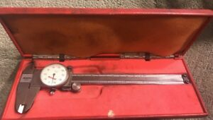 Vintage Peacock 6 Inch 15cm Dial Caliper In Red Case 20 440