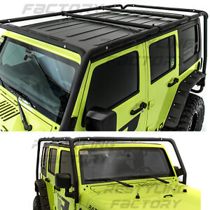 Cargo Roof Rack System Base top Cross Bar For 07 18 Jeep Wrangler 4 Door Only