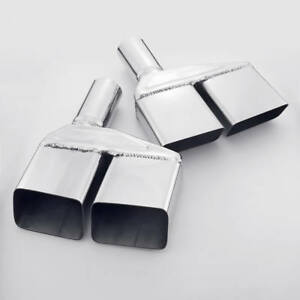 Quad Exhaust Tips Dual Square Angle Cut 2 Inlet 11 Long 304 Stainless Steel