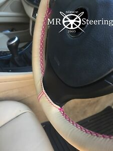 Beige Leather Steering Wheel Cover For 05 10 Vw Passat B6 Hot Pink Double Stitch
