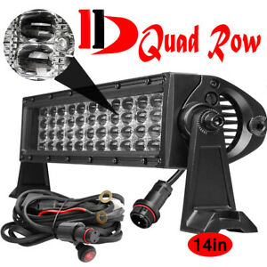 10d Lens Quad Row Led Light Bar 480w 6000k Driving Combo Beam Offroad Suv 12inch