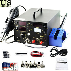 Smd 3in1 853d Soldering Iron Welder Hot Air Gun Rework Station Accessories Ht