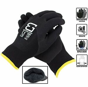 Safety Winter Insulated Double Lining Rubber 3 4coated Work Gloves bgwans3 4 bk