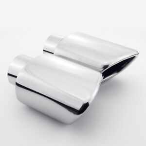 Exhaust Tips 2 25 Inlet Rectangle Rolled Edge Slant One Pair Stainless Steel