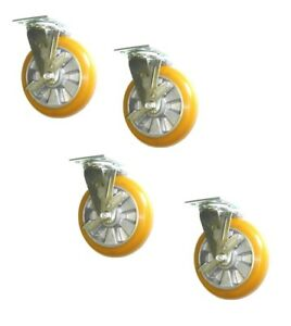 Set Of 4 Durable Swivel Casters With Side Lock Brakes Polyurethane On Aluminum