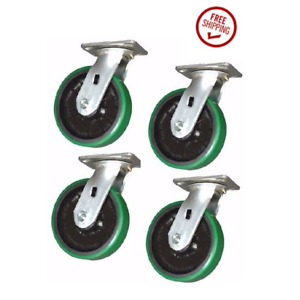 Pack Of 4 New Swivel Casters W Polyurethane On Steel 6 X 2 Wheels Mh620ps s