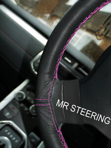 For Riley Rm 1945 1955 Black Leather Steering Wheel Cover Hot Pink Double Stitch