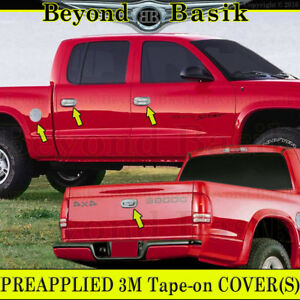 For 1997 2004 Dodge Dakota Chrome 4 Door Handle Covers W 2 Kh gas Door tailgate