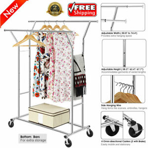 Double Bar Adjustable Commercial Heavy Duty Cloth Rolling Garment Rack Hanger Us