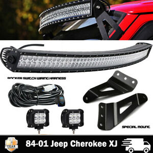84 01 Jeep Cherokee Xj Roof Windshield Mount Bracket 50 Curved Led Light Bar