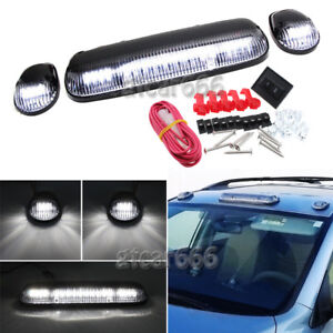 3x Roof Cab Marker Lights White Led For 2002 2007 Chevy Silverado Gmc Sierra