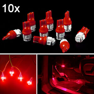 10pcs Red Led Car Interior Lights Bulbs T10 5 Smd 168 194 Trunk Dome Dash Lamp