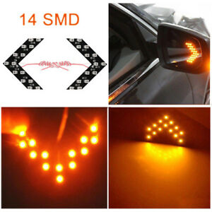 2x 14 Smd Led Arrow Lights For Car Side Mirror Turn Signal Blinker Retrofit Y