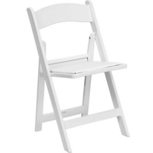 4 Pack Commercial Padded Wedding Banquet Plastic Folding White Chairs