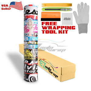 premium Sticker Bomb Vinyl Wrap Decal Film Graffiti Cartoon Jdm Usdm Diy il