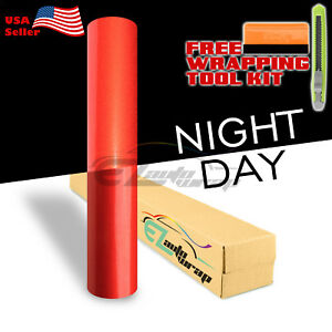 12 x48 Reflective Red Vinyl Wrap Sticker Decal Graphic Sign Car Adhesive Film