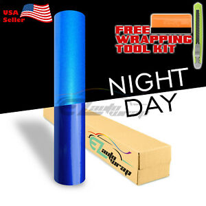 48 x120 Reflective Blue Vinyl Wrap Sticker Decal Graphic Sign Adhesive Film