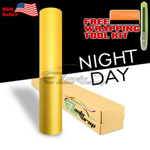 48 x60 Reflective Yellow Vinyl Wrap Sticker Decal Graphic Sign Adhesive Film
