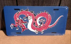 Big Red Chinese Dragon Novelty Metal License Plate Auto Car Truck Tag