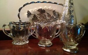 Sterling Silver Overlay Glass Vase Creamer Sugar Bowl Tea Caddy Waste Tray Dish