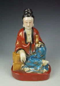 China Antique Famille Rose Porcelain Kuanyin Buddha Statue