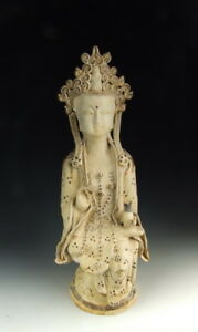 Chinese Antique Jizhou Ware Porcelain Kuanyin With Brown Speckle