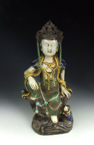 One Nice Chinese Antique Plain Tri Colored Porcelain Kuanyin Buddha