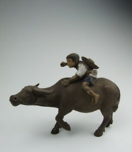 Later Chinese Antique Yixing Ware Zisha Pottery Cowboy And Cow
