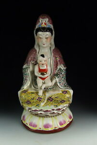 Chinese Antique Famille Rose Porcelain Kuanyin Buddha Statue