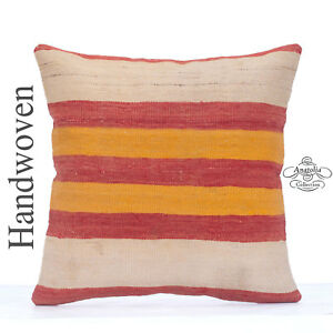 Striped Colorful Kilim Cushion Cover 20x20 Large Sofa Couch Floor Throw Pillow