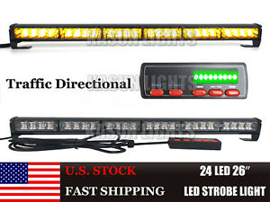 26 24 Led Amber Led Strobe Traffic Advisor Beacon Emergency Vehicles Light Bar