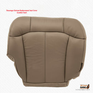 1999 2000 Chevy Silverado 1500 2500 Passenger Bottom Leather Seat Cover Med Tan