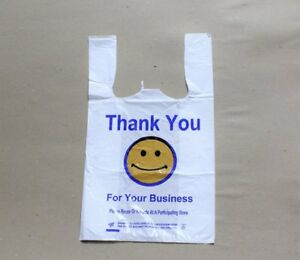 1000pc T Shirt Large Carry Plastic Shopping Bags smiley Face 11 1 2 x6 1 4 x21