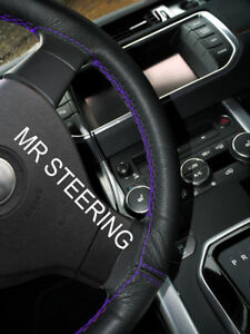 Black Leather Steering Wheel Cover For Lexus Rx 1998 2008 Purple Double Stitch