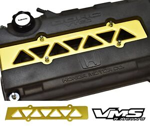 Vms Racing Valve Cover Spark Plug Wire Insert Gold For Honda Civic Si B16 Vtec
