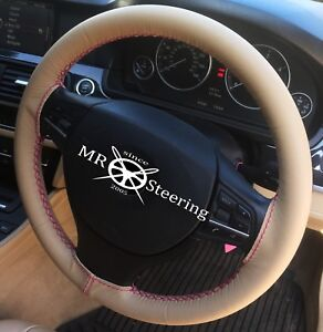 For 2006 2013 Lexus Is Beige Leather Steering Wheel Cover Hot Pink Double Stitch