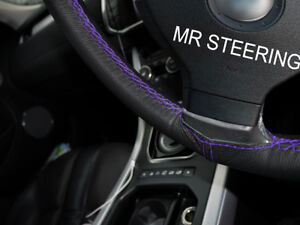 True Leather Steering Wheel Cover For Acura Tl 1995 2003 Purple Double Stitching