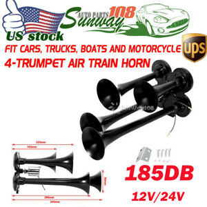 Black Super Loud 12v 24v 185db Compact 4 Trumpet Air Horn Car Boat Train Truck