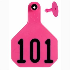Y tex Large 4 star Tags Cattle Fade Tear Resistent 101 125 Hot Pink 25ct Pkg
