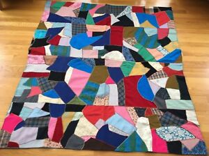 Vintage Crazy Quilt Feather Stitched Mix Of Fabrics Silk Wool Rayon 54 X 59